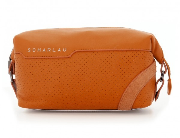 Leather small toiletry bag orange front