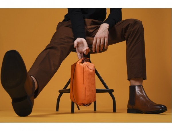 Leather small toiletry bag orange model