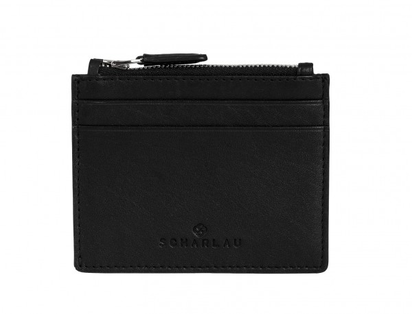 leather card holder black front