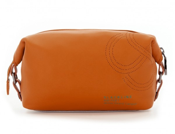 Leather small toiletry bag orange back