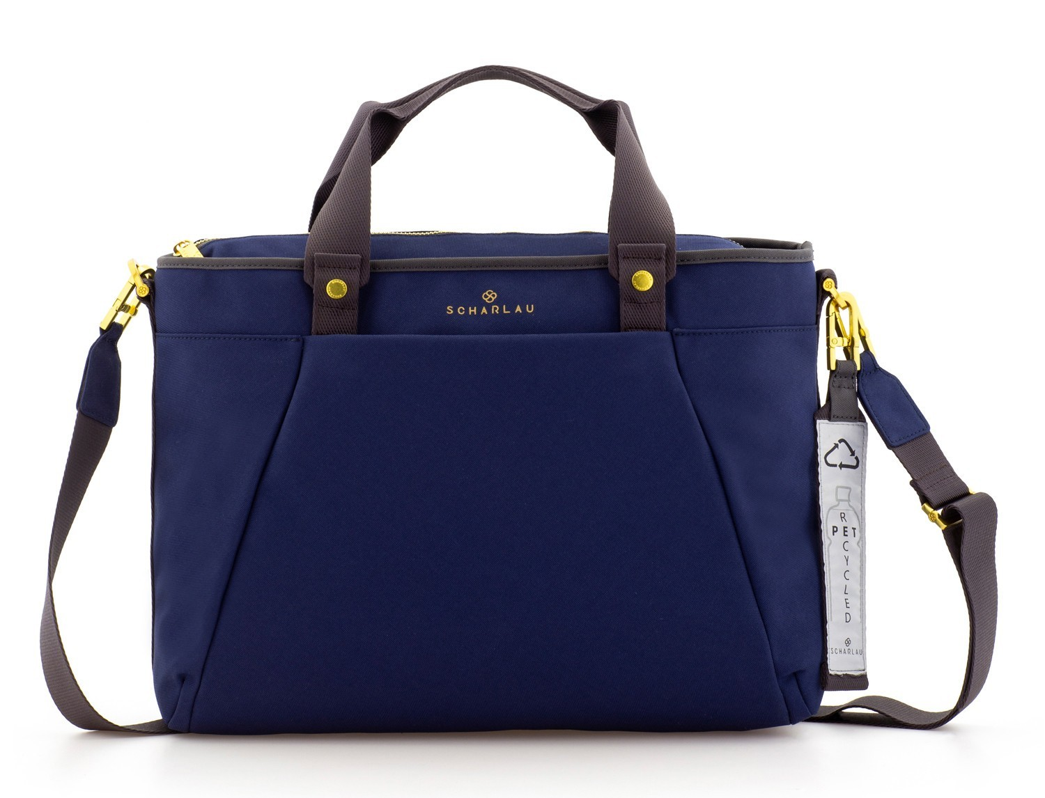 recycled  laptop woman bag in blue front