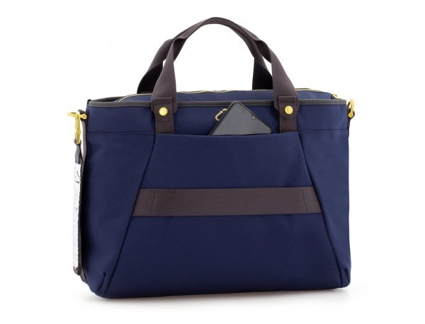 recycled  laptop woman bag in blue back