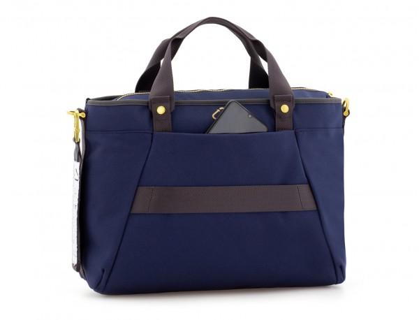 bolso de mujer reciclado para ordenador azul detrás