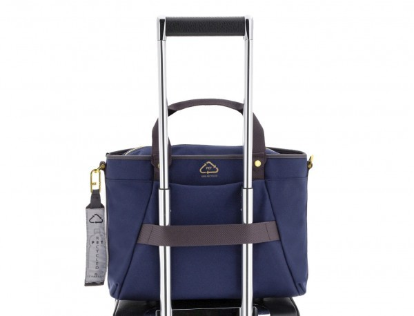 recycled  laptop woman bag in blue trolley