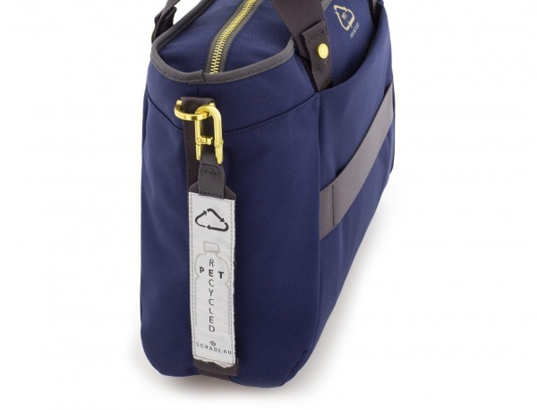 recycled  laptop woman bag in blue detail