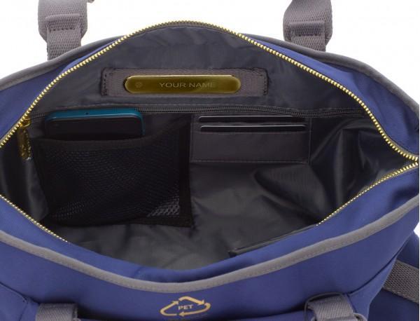 bolso de mujer reciclado para ordenador azul personalizado