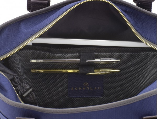 recycled  laptop woman bag in blue compartments