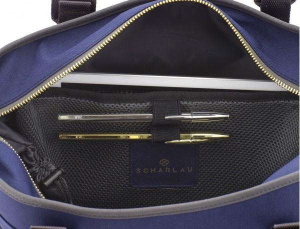 bolso de mujer reciclado para ordenador azul compartimentos
