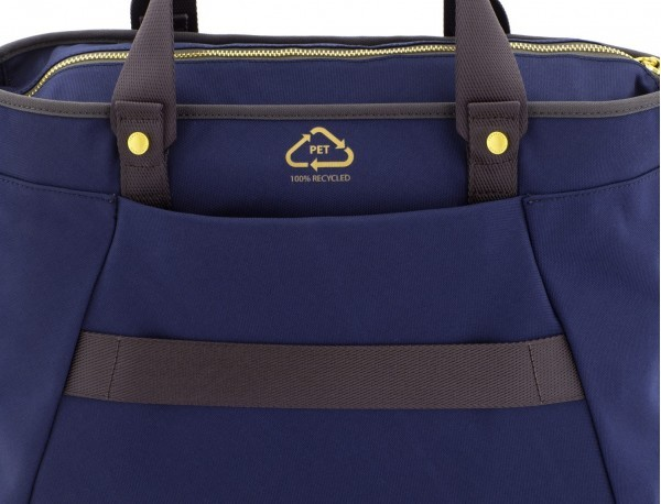 recycled  laptop woman bag in blue logo