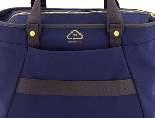 Borsa per laptop donna riciclato blu logo