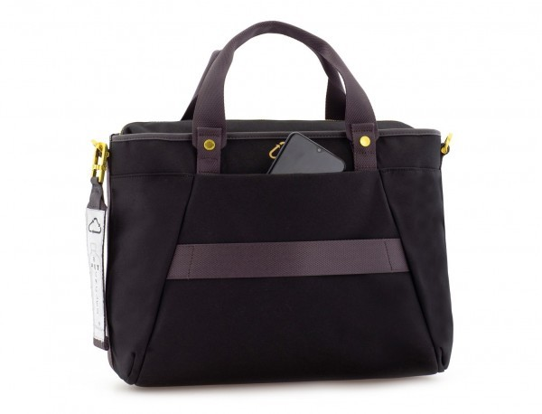 bolso de mujer reciclado para ordenador negro detrás