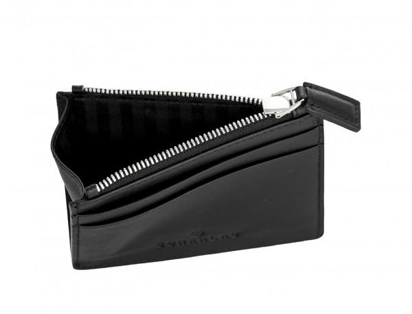 leather card holder black inside