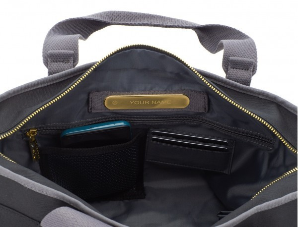 recycled  laptop woman bag in black personalized