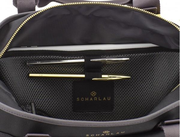 bolso de mujer reciclado para ordenador negro bolsillos