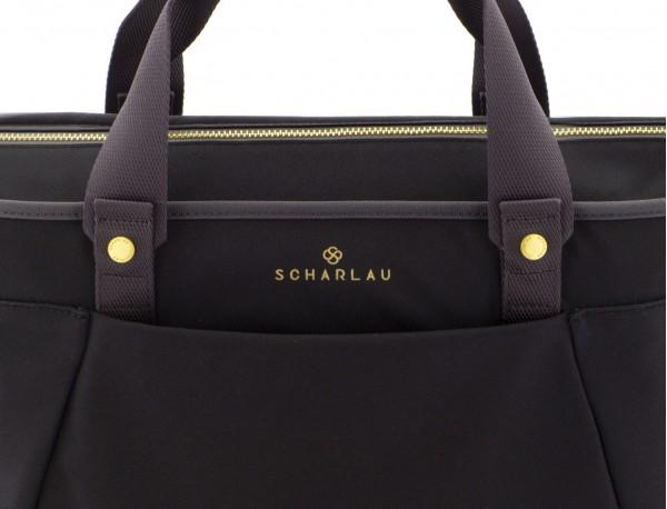 bolso de mujer reciclado para ordenador negro logo