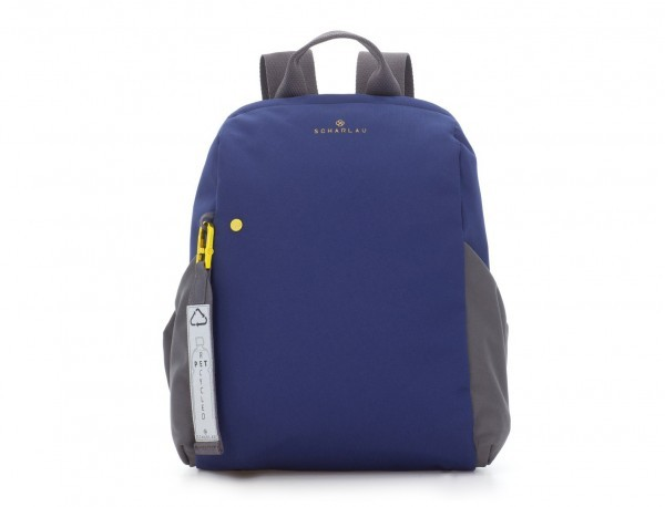 recycled woman's backpack in blue front