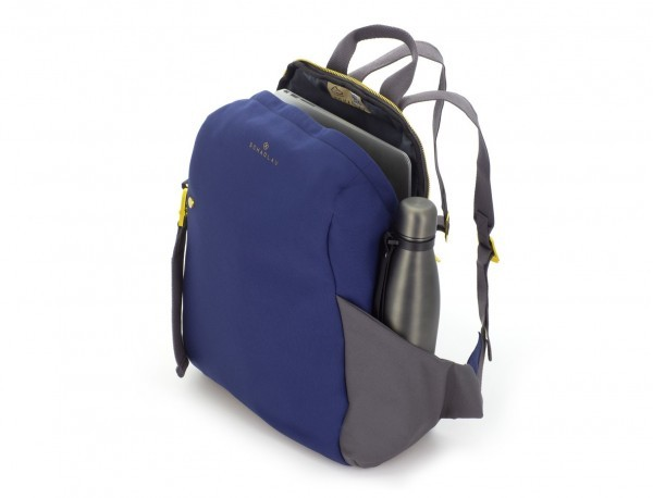 recycled woman's backpack in blue side