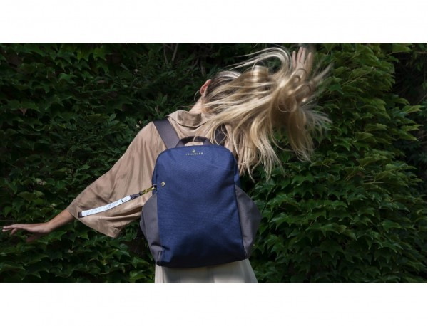 recycled woman's backpack in blue model