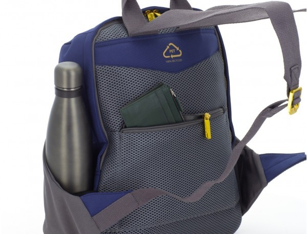 recycled woman's backpack in blue back