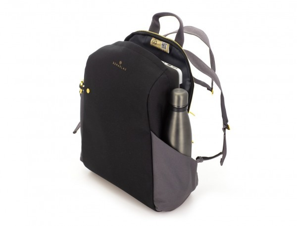 recycled woman's backpack in black side