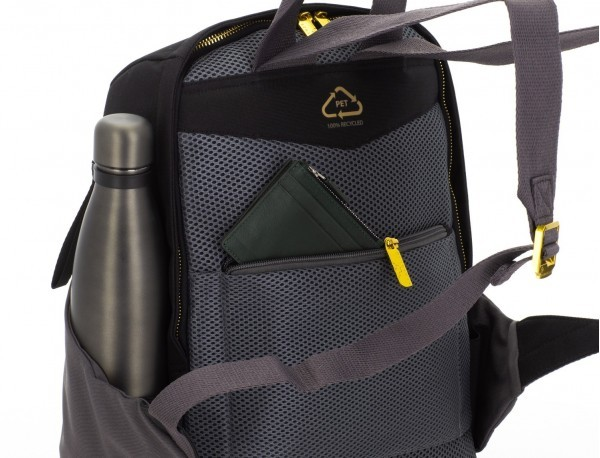 recycled woman's backpack in black back