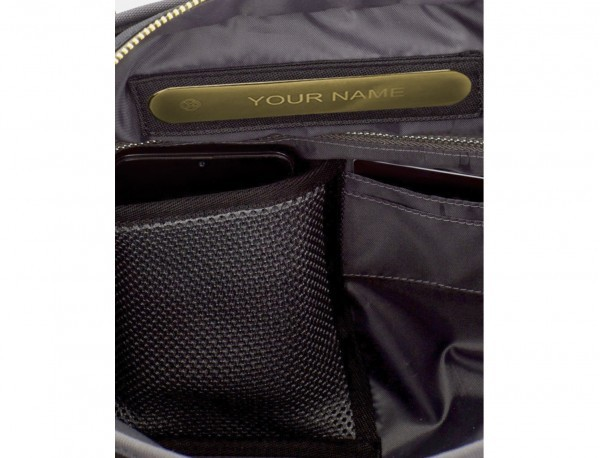recycled woman's backpack in black personalized