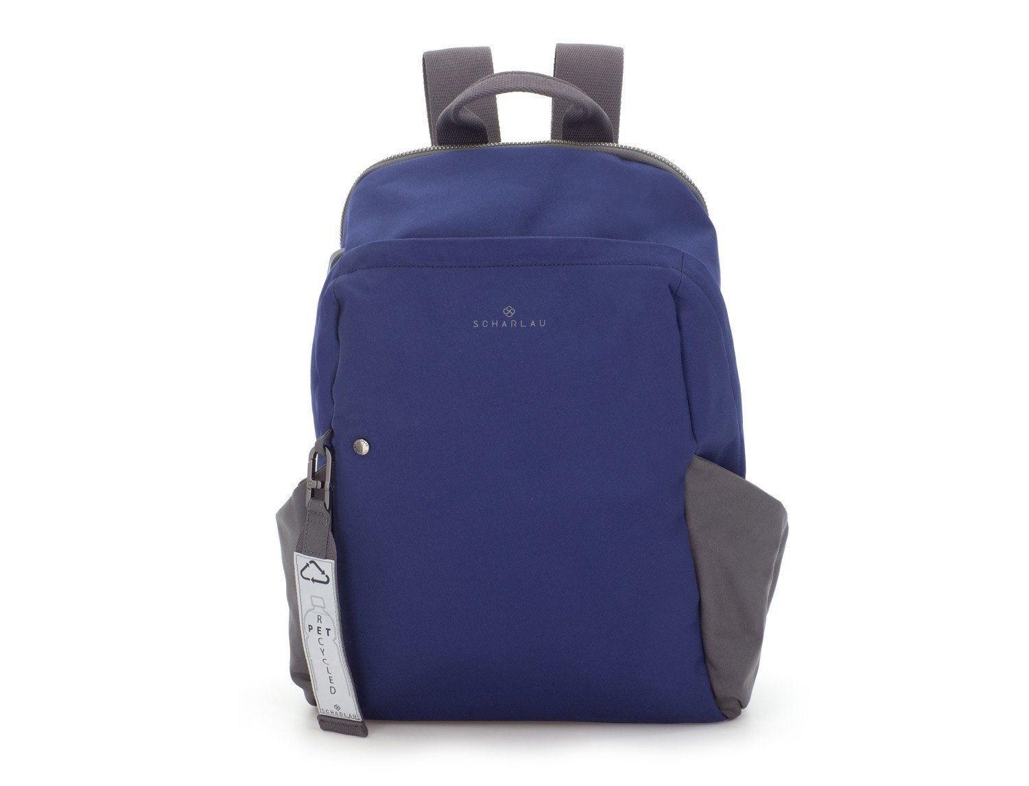 recycled backpack in blue front