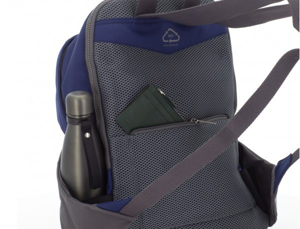 recycled backpack in blue  back
