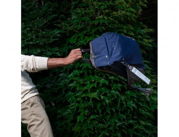 recycled backpack in blue  model