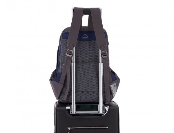 recycled backpack in blue trolley
