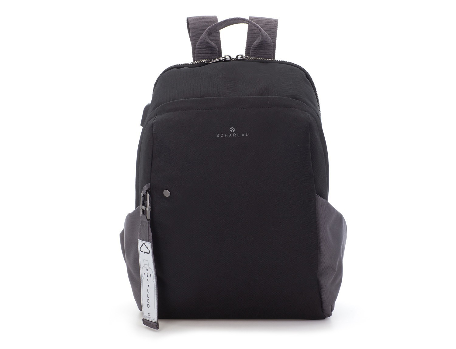 recycled backpack in black front