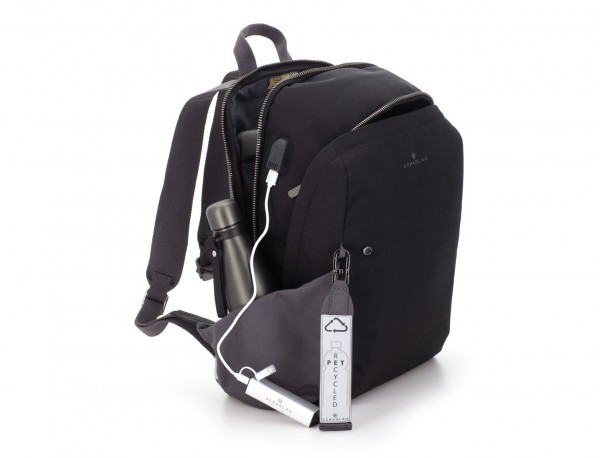 recycled backpack in black side