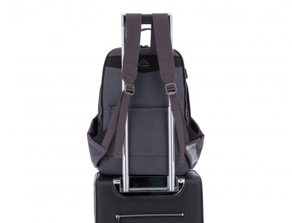 recycled backpack in black trolley