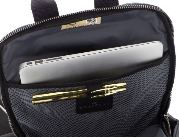 recycled backpack in black laptop