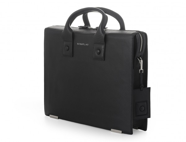 maletin negro para hombre de cuero lateral