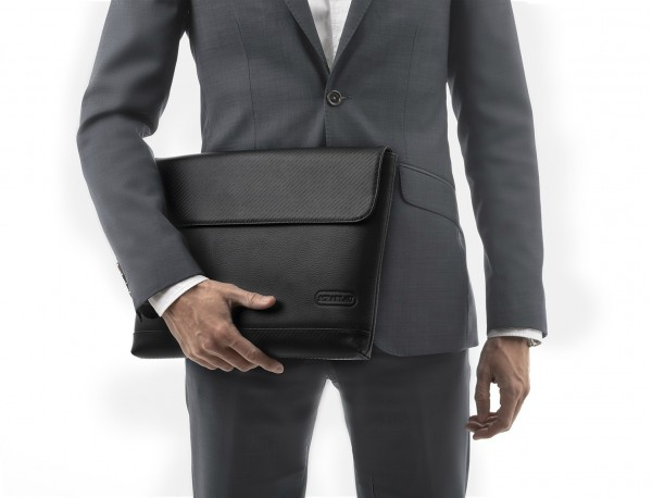 "Leather laptop sleeve 15.6"" inch black model"