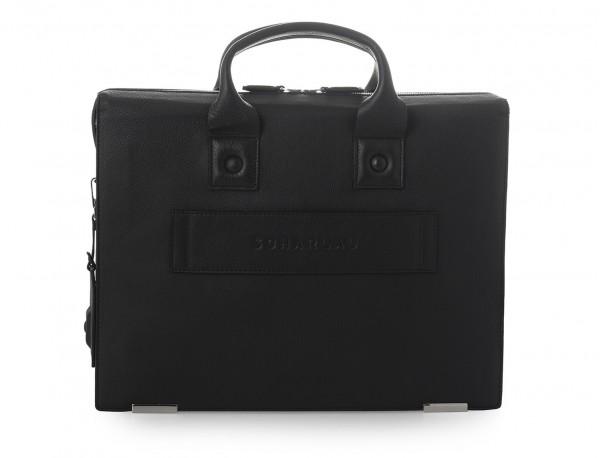 maletin negro para hombre de cuero trasera