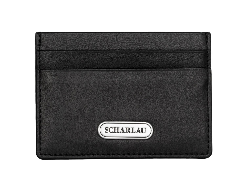 Leather credit card holder in black front