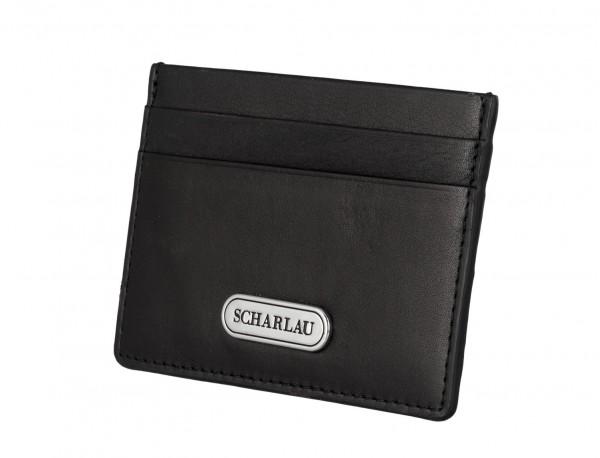 Porta carte di credito in pelle nero side