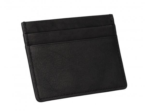 Porta carte di credito in pelle nero back