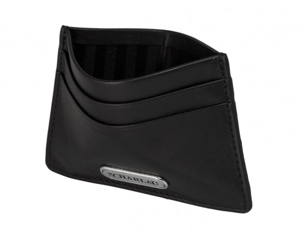 Leather credit card holder in black inside