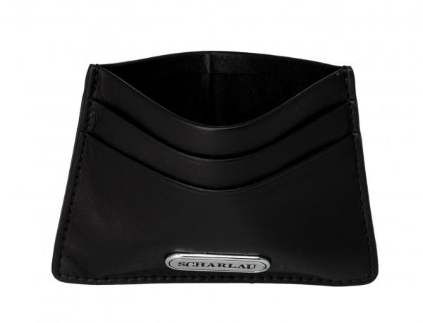 Leather credit card holder in black detail