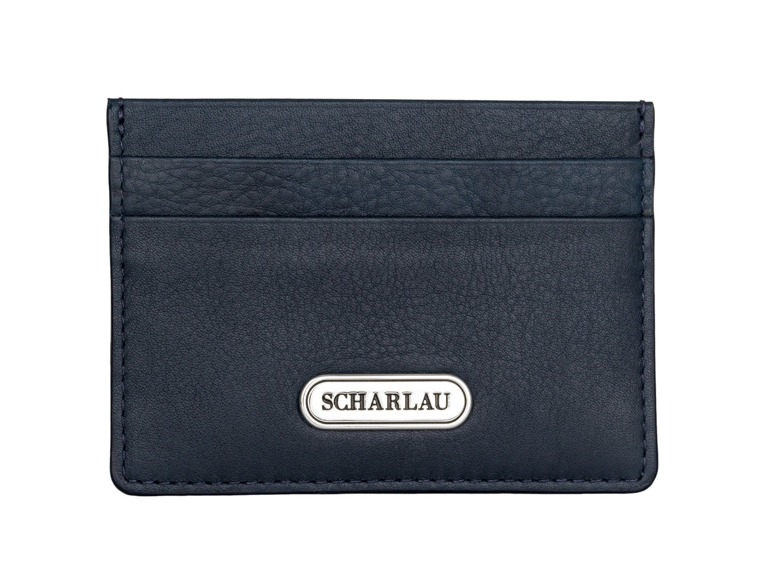 Leather credit card holder in blue front