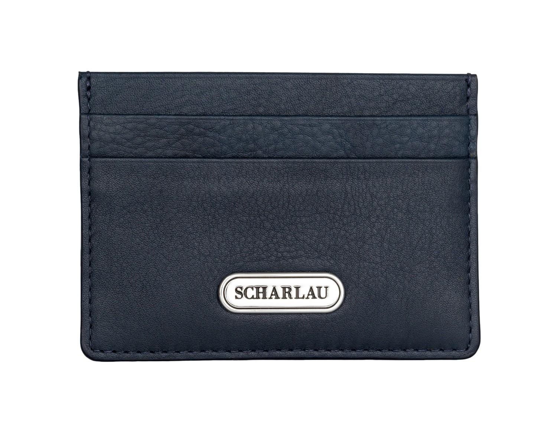 Porta carte di credito in pelle blu front