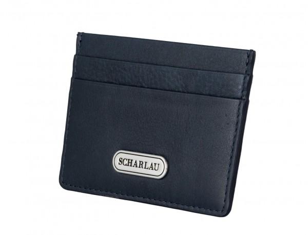 Porta carte di credito in pelle blu side