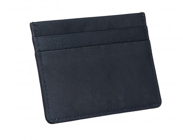 Porta carte di credito in pelle blu back