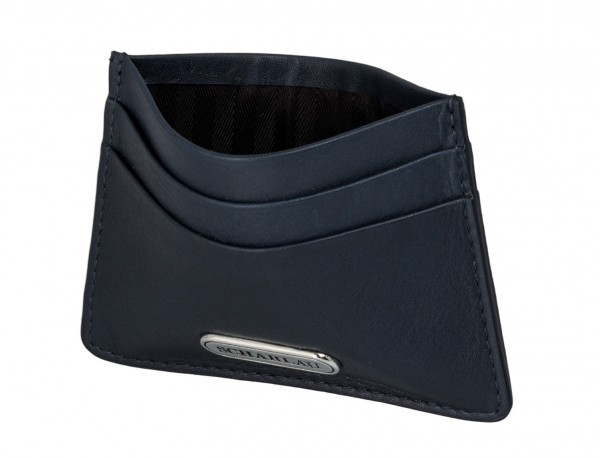 Leather credit card holder in blue open