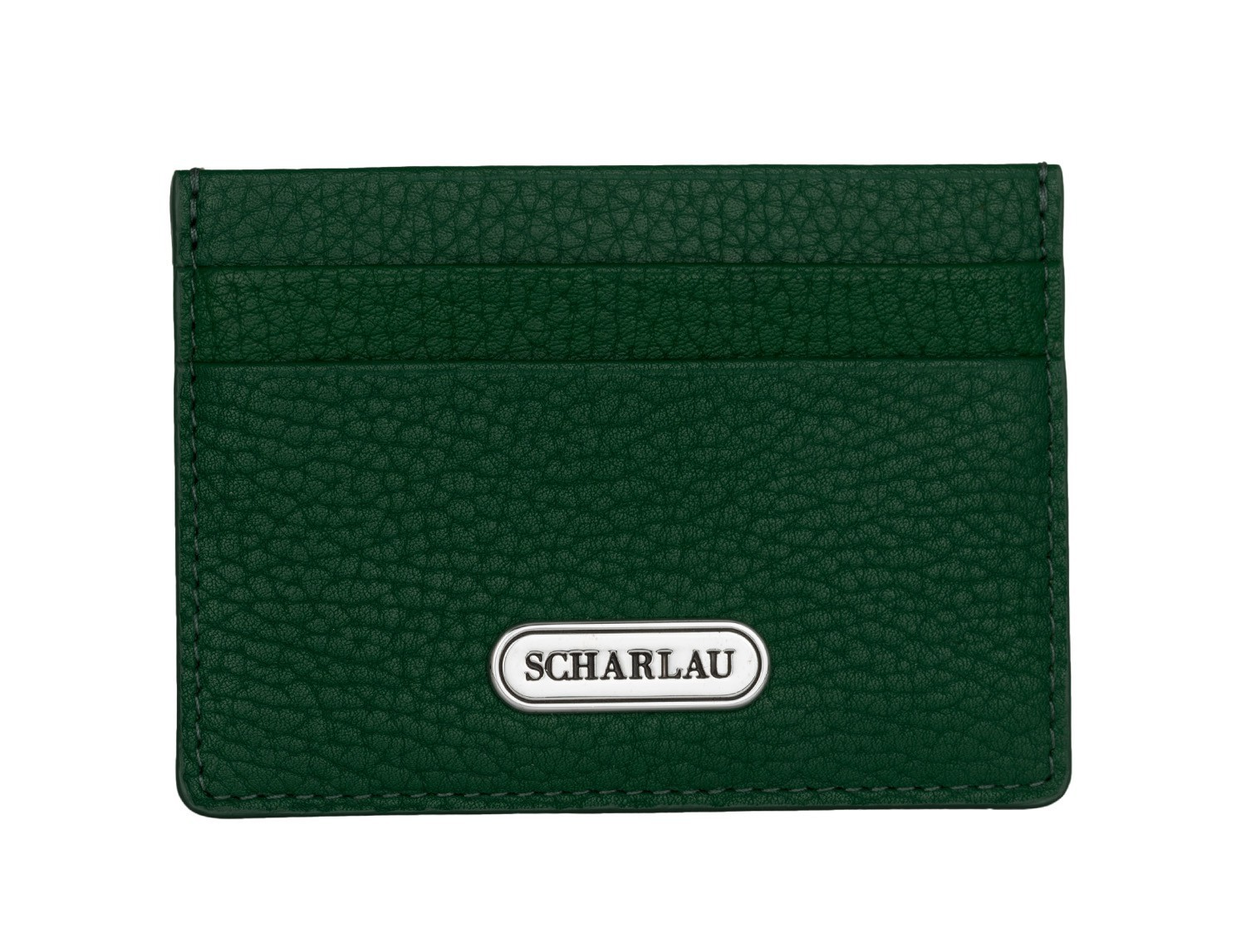 Leather credit card holder in green front