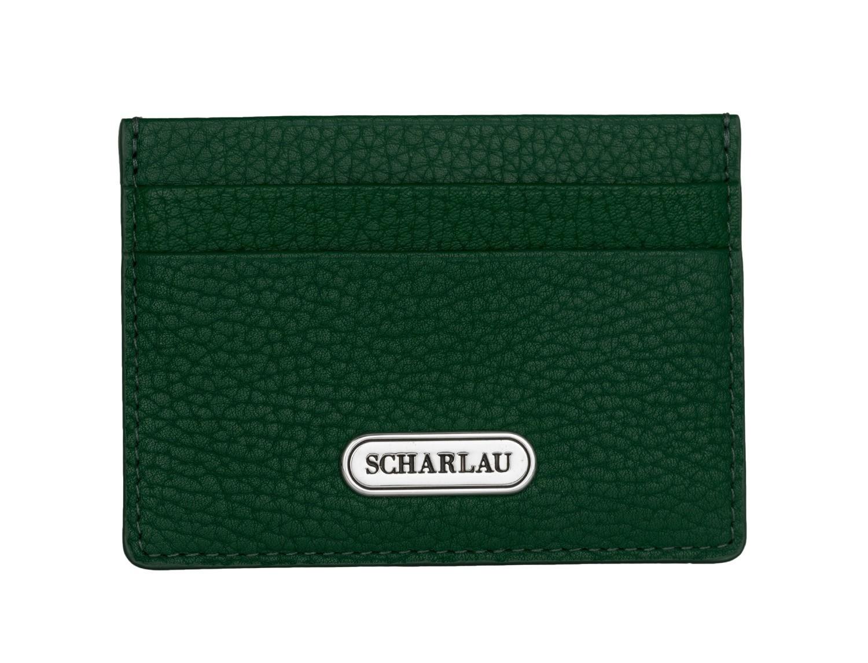 Porta carte di credito in pelle verde front