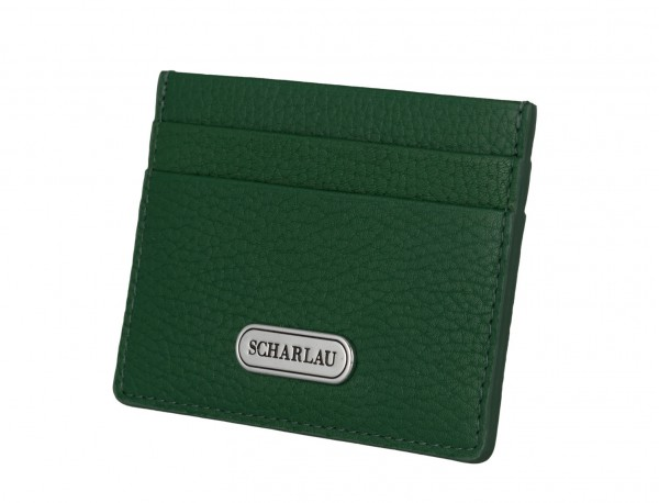 Leather credit card holder in green side